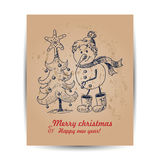 Christmas card with a snowman in the middle Royalty Free Stock Photos