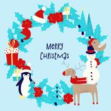 Christmas card with snowman. Penguin and deer Stock Image