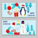 Christmas card with snowman. Penguin and deer Stock Photos