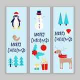 Christmas card with snowman. Penguin and deer Stock Photography