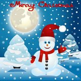 Christmas card with a snowman. Postcard with happy snowman. Vector Illustration Stock Photos