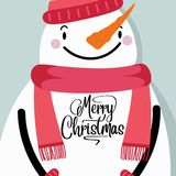 Christmas Card with snowman royalty free illustration