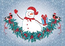 Christmas card with Snowman in Santa hat with gift box and christmas decorative garland and funny bullfinches. New Year design pos. Tcard Royalty Free Stock Photo