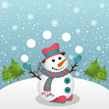 Christmas card with snowman. Scalable vectorial image representing a Christmas card with snowman Royalty Free Stock Photos