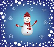 Christmas card with a snowman and snow border Royalty Free Stock Image