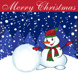 Christmas card with snowman and snowball. Vector Stock Photos