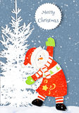 Christmas Card with snowman. Royalty Free Stock Photos
