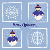 Christmas card with snowman and snowflakes Royalty Free Stock Image