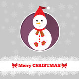 Christmas card snowman template. Christmas card template with snowman in the circle Royalty Free Stock Photo