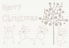 Christmas card with snowman and tree Stock Image