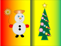 Christmas card. Snowman and Christmas tree on Christmas card vector illustration