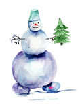 Christmas card with snowman Royalty Free Stock Images