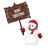 Christmas card. Snowman wearing santa hat isolated on the white background. Vector Royalty Free Illustration