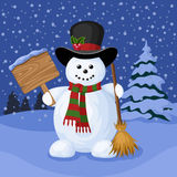 Christmas card with snowman and winter landscape. Stock Images