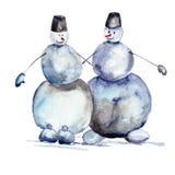 Christmas card with snowmans Stock Photos
