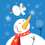 Christmas card with snowmen. Festive Christmas card with snowmen on a dark background Stock Photos