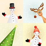 Christmas card with snowmen, raindeer and tree Royalty Free Stock Photography