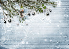 Christmas card. With snowy fir branches, berries and a snowman o Stock Photo