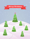 Christmas card with snowy forest flat vector. Template Royalty Free Stock Photo
