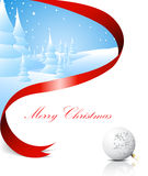 Christmas card with snowy landscape Royalty Free Stock Image