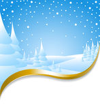 Christmas card with snowy landscape royalty free illustration