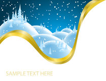 Christmas card with snowy landscape Royalty Free Stock Images
