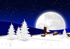Christmas Card - Snowy Mountain Village with Big Full Moon and S. Tarry Sky Background. Seasonal X-Mas Greeting Card Template for Wishes. Landscape Postcard royalty free illustration