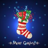 Christmas card with sock full of gifts. Christmas greeting card with sock full of gifts in flat style. Vector illustration Stock Photography