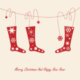 Christmas card with socks Royalty Free Stock Photography