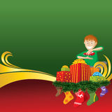 Christmas Card with Socks and Boy. 2012 vector christmas card with boy, gifts and socks stock illustration