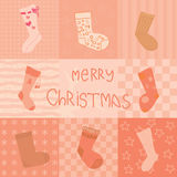 Christmas card with socks collection Stock Photography
