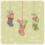 Christmas card with socks and gifts. Vector. Illustration Royalty Free Stock Photos