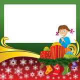 Christmas Card with Socks and Girl. 2012 vector christmas card with girl, gifts and socks Royalty Free Stock Photography