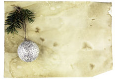 Christmas card with space and christmas tree toy Stock Photos
