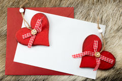 Christmas card with hearts Royalty Free Stock Photography