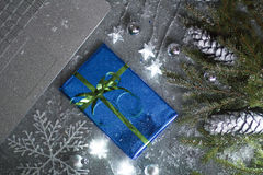 Christmas card laptop Royalty Free Stock Photo