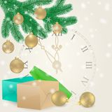 Christmas card with spruce branches, balls, gifts and clock. Design for holiday greeting cards, calendars, banners, posters. Happy New Year. Vector element for Stock Photography