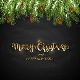 Christmas card and spruce branches with pine cones and snow. Holiday decorations and golden lettering Merry Christmas and Happy. New Year on black chalkboard vector illustration