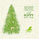 Christmas card with spruce and pinecone. Royalty Free Stock Photo
