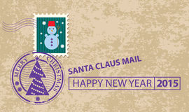 Christmas card with stamp Royalty Free Stock Photography