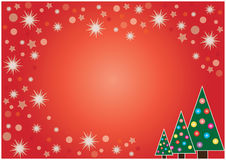 Christmas card. With star frame and xmas trees Royalty Free Stock Image