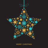Christmas  card with  star with gold and blue snowflakes. Merry Christmas  card with  star with gold and blue snowflakes on black background. Vector Royalty Free Stock Photography