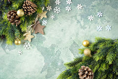 Christmas card. Star on green stone background. Stock Photography