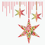 Christmas card with the stars. Christmas toy background. Royalty Free Stock Image