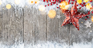 Christmas Card With Stars Decorations and Berries stock images
