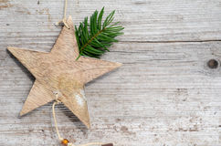 Wooden star Christmas card coupon Stock Photos