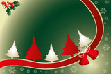 Christmas card - Stock Illustration. Christmas card with trees, ribbon and place for text vector illustration