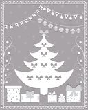 Christmas card in the style of carving paper vector Royalty Free Stock Photos