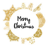 Christmas card with Stylish gold Christmas Royalty Free Stock Images