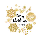 Christmas card with Stylish gold Christmas Royalty Free Stock Image
